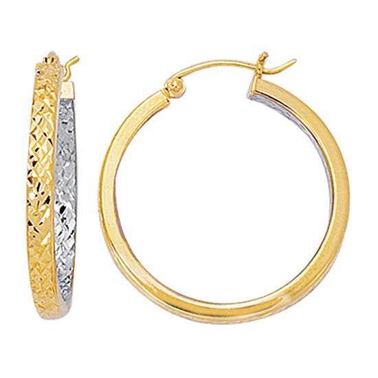 14K Two Tone Gold 31.3mm Hoop Earrings