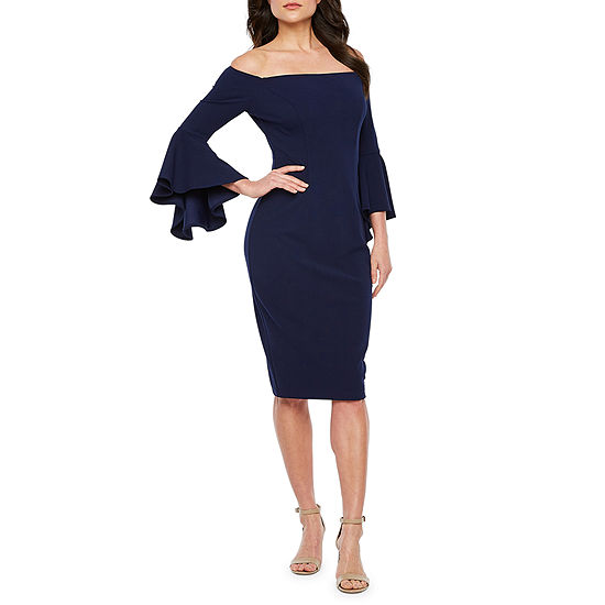 Premier Amour 3/4 Bell Sleeve Off The Shoulder Sheath Dress