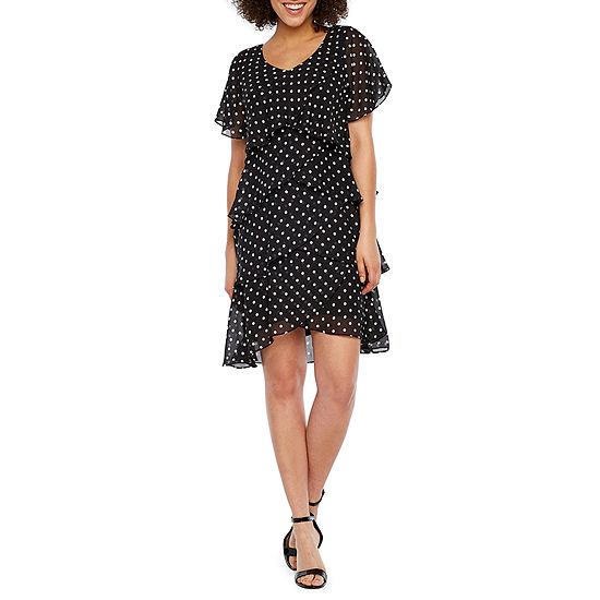 S. L. Fashions Short Sleeve Polka Dot Shift Dress