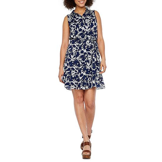 Ronni Nicole Sleeveless Midi Shirt Dress