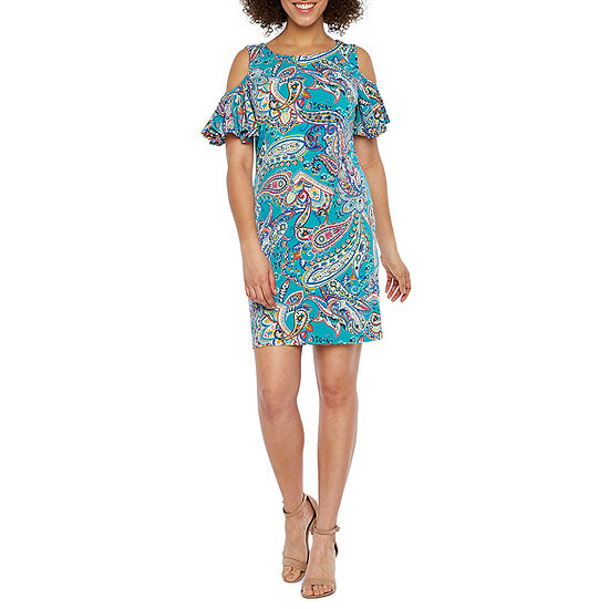 Ronni Nicole Short Sleeve Cold Shoulder Paisley Shift Dress