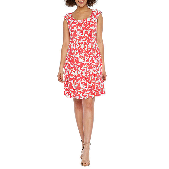 Ronni Nicole Sleeveless Scroll Puff Print Fit & Flare Dress