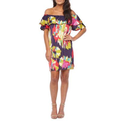 London Style Short Sleeve Abstract Shift Dress
