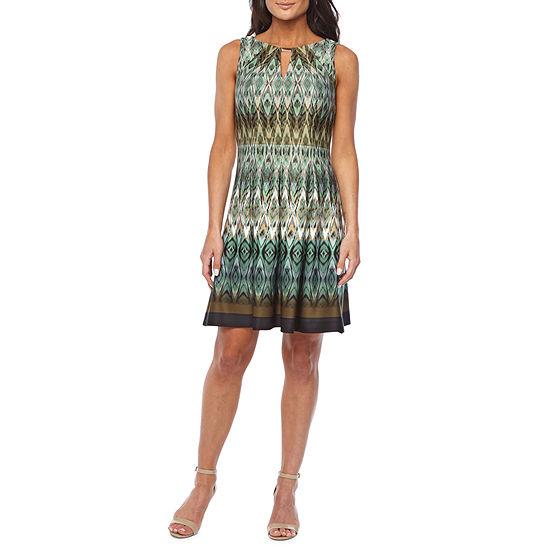 Danny & Nicole Sleeveless Geometric Midi Fit & Flare Dress