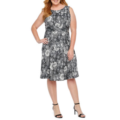 Perceptions Sleeveless Floral Fit & Flare Dress-Plus