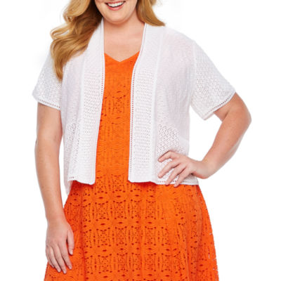 Perceptions Womens Short Sleeve Shrug-Plus