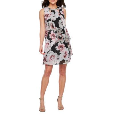 S. L. Fashions Sleeveless Beaded Floral Shift Dress