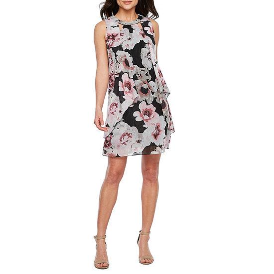 695465aea1 S. L. Fashions Sleeveless Beaded Floral Shift Dress