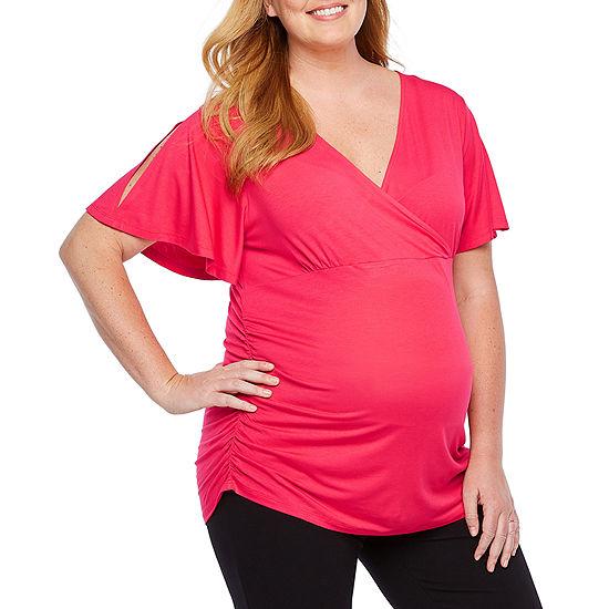 Belle & Sky Maternity Slit Sleeve V-Neck Top - Plus