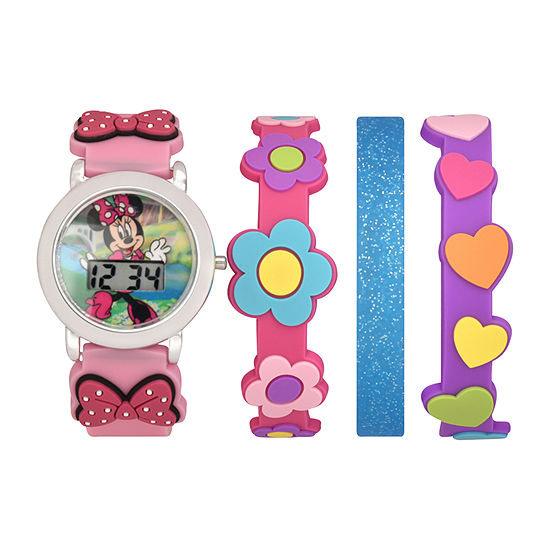 Minnie Mouse Girls Digital Multicolor 4-pc. Watch Boxed Set-Mnh40036jc