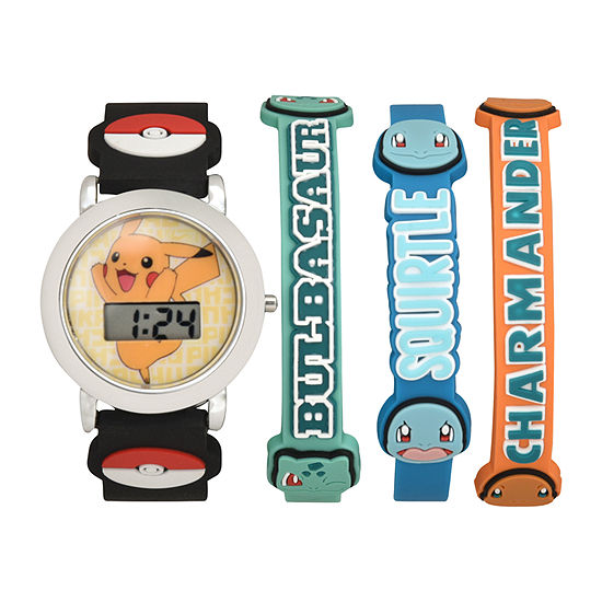 Pokemon Boys Digital Multicolor 4-pc. Watch Boxed Set-Pok40013jc