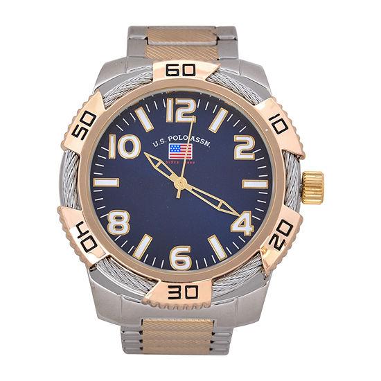 Us Polo Assn. Mens Silver Tone Bracelet Watch-Us8828jc