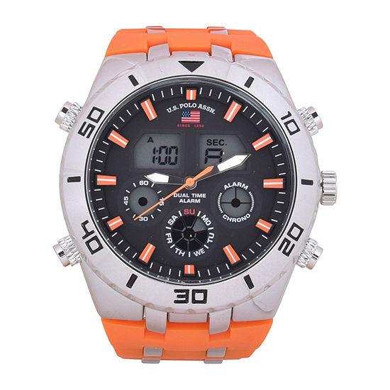 Us Polo Assn. Mens Orange Strap Watch-Us9725jc