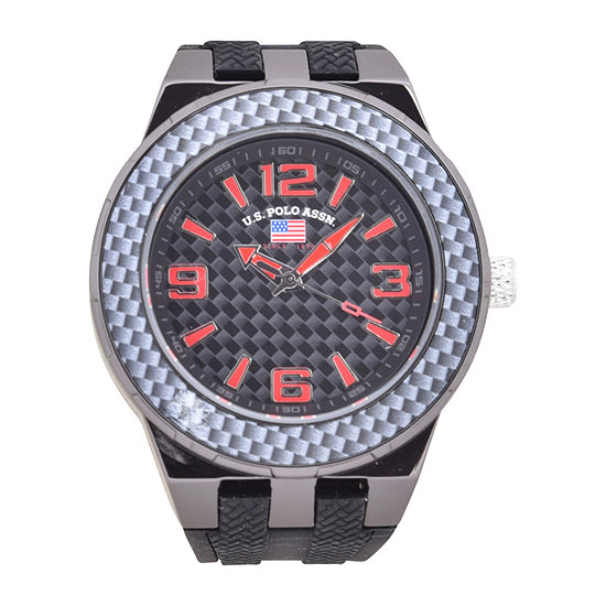 Us Polo Assn. Mens Black Strap Watch-Us9726jc