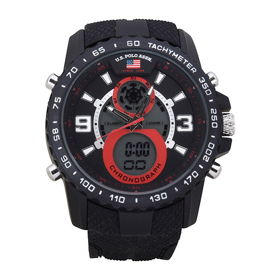 Us Polo Assn. Mens Black Strap Watch-Us9727jc