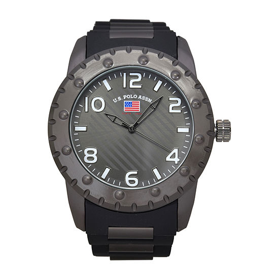 Us Polo Assn. Mens Black Strap Watch-Us9683jc