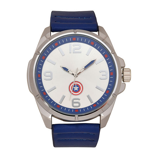 Marvel Avengers Mens Blue Leather Strap Watch-Avg9039