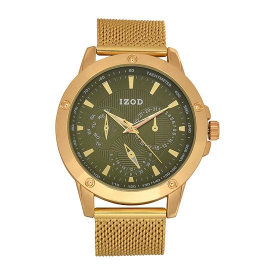 IZOD Mens Gold Tone Strap Watch Izo5469jc