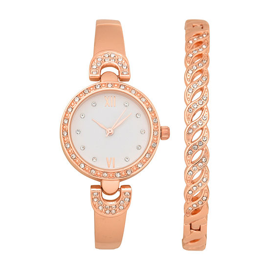 Geneva Womens Rose Goldtone 2-pc. Watch Boxed Set-Wac8735jc