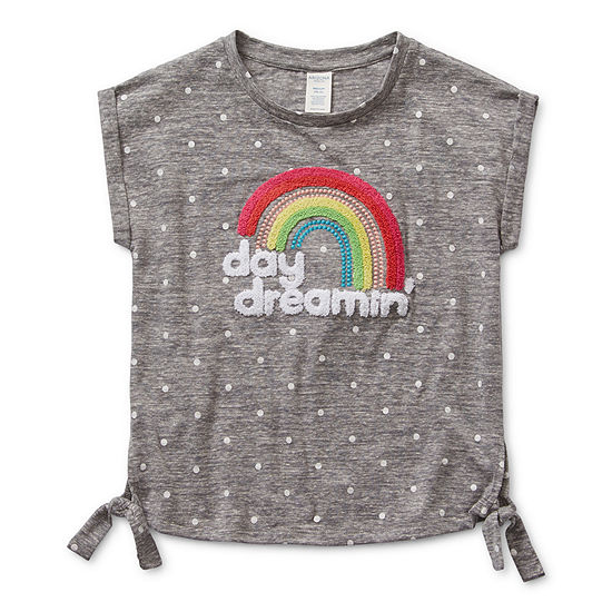 Eyeshadow Little & Big Girls Round Neck Short Sleeve Graphic T-Shirt