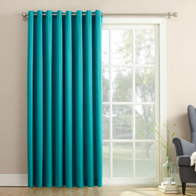 Sun Zero Emory Energy Saving Grommet-Top Single Patio Door Curtain