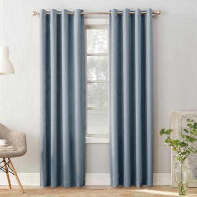 Sun Zero Emory Energy Saving Room Darkening Grommet-Top Single Curtain Panel