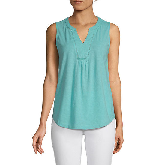 St. John's Bay Womens Y Neck Sleeveless Tank Top