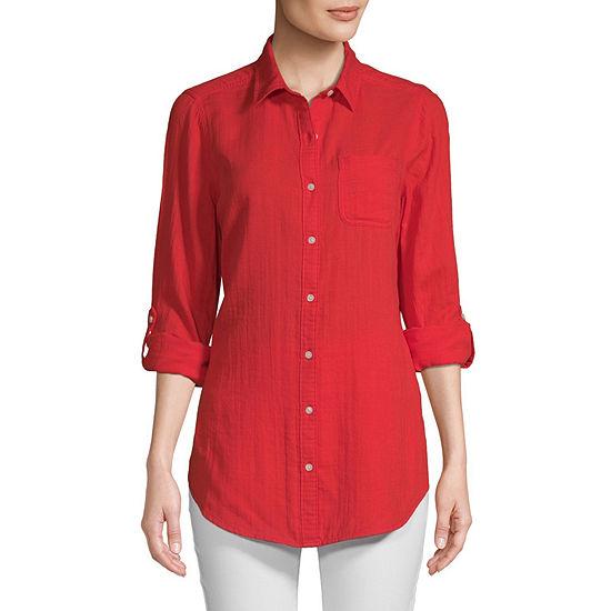 St. John's Bay Womens Long Sleeve Button-Down Shirt
