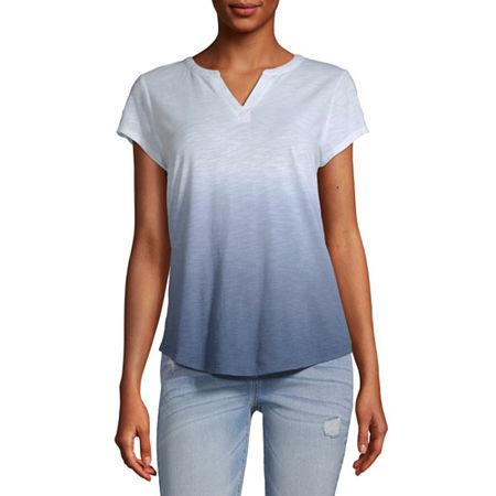 Liz Claiborne-Womens Split Crew Neck Short Sleeve T-Shirt, X-small , Blue - 85105430034