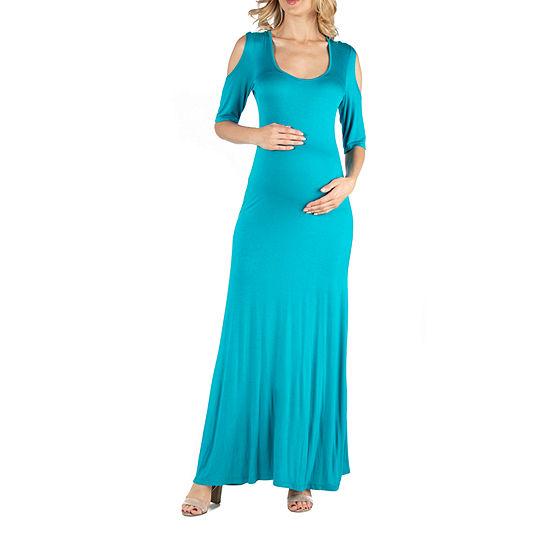 24/7 Comfort Apparel Half Sleeve Open Shoulder Maxi Dress