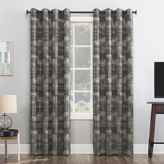 Sun Zero Marcus Crosshatch Thermal Extreme Energy Saving 100% Blackout Grommet-Top Single Curtain Panel