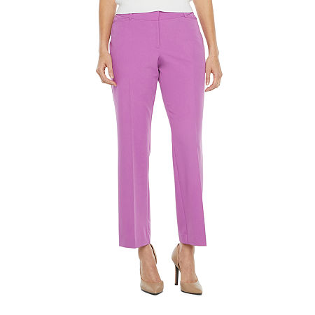 Worthington Womens Curvy Fit Perfect Trouser, 6 Long , Purple