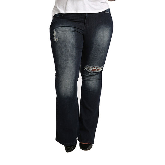 Poetic Justice - Plus Kylie Womens Mid Rise Curvy Fit Stretch Flare Jean
