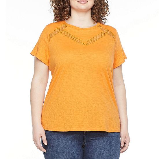 Liz Claiborne Womens Plus Crew Neck Short Sleeve T-Shirt