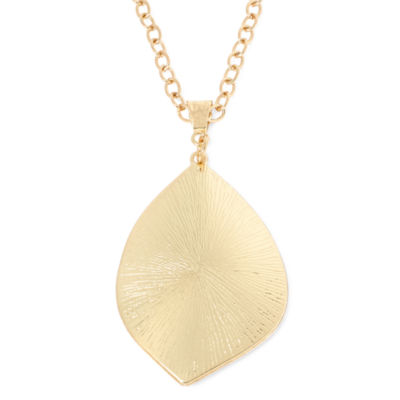 Gold-Tone Leaf Pendant Necklace
