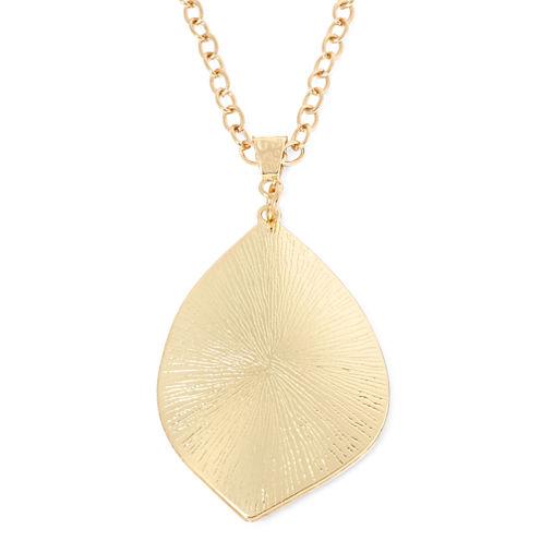 Gold-Tone Leaf Pendant Necklace