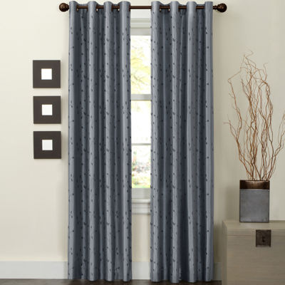 Jardin Embroidered Faux-Silk Thermal Grommet-Top Curtain Panel