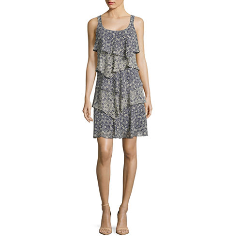 Robbie Bee Sleeveless Tiered A-Line Dress-Petites