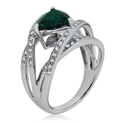 Womens Lab Created Emerald Sterling Silver Cocktail Ring
