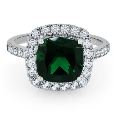 Womens Simulated Emerald Sterling Silver