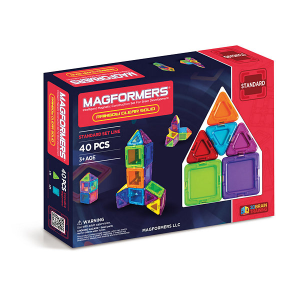 Magformers Solids Clear Rainbow 40 PC. Set