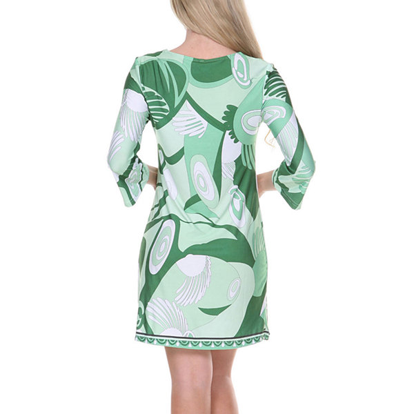White Mark Belinda 3/4 Sleeve Abstract Sheath Dress
