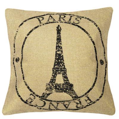 """18"""" Paris Stamp Decorative Pillow"""