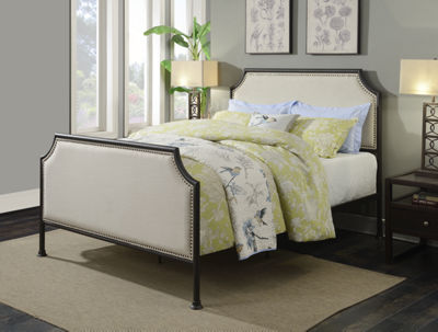 Home Meridian Industrial Clipped Upholstered Sleigh Bed