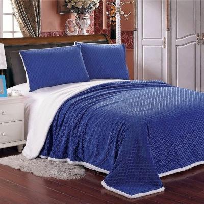 Elegant Comfort Luxury Micro-Sherpa Ultra Plush Heavy-Weight Wave Pattern Blanket