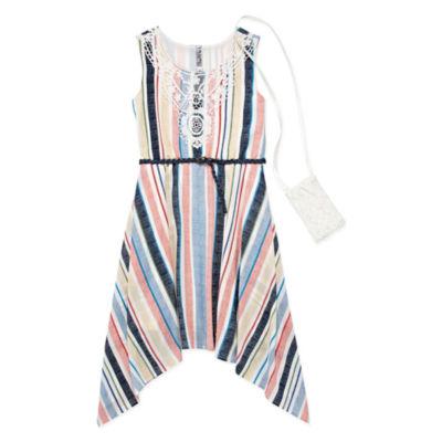 Knit Works Belted Sleeveless Stripe A-Line Dress - Big Kid Girls