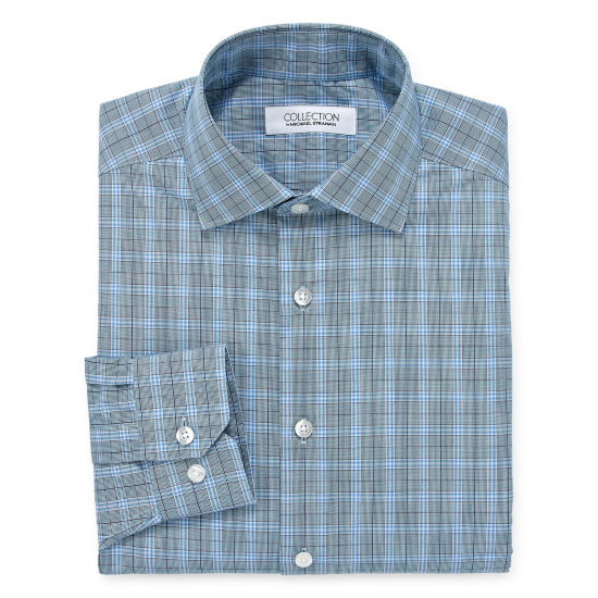 Collection by Michael Strahan  Wrinkle Free Cotton Stretch Long Sleeve Woven Plaid Dress Shirt