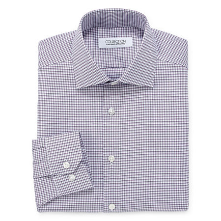 Collection by Michael Strahan Mens Spread Collar Long Sleeve Wrinkle Free Stretch Dress Shirt, 15 32-33, Purple