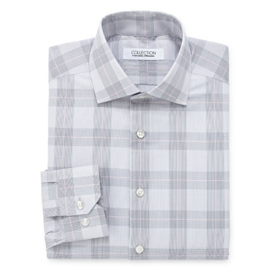 Collection by Michael Strahan  Wrinkle Free Cotton Stretch Big And Tall Long Sleeve Woven Plaid Dress Shirt