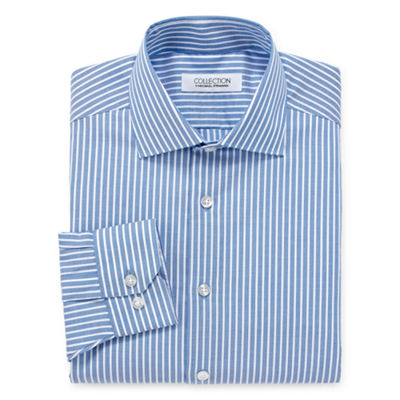 Collection by Michael Strahan  Wrinkle Free Cotton Stretch Big And Tall Long Sleeve Woven Stripe Dress Shirt
